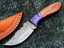 "Custom Handmade Damascus Steel Blade 8.0"" Hard  WOOD - Hunting Knife WD-1079"