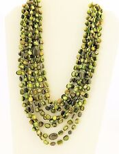 "Vintage Necklace 8 strands Pyrite, Green MOP Knotted Silk, 20"" N1814"