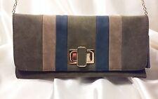 Urban Expressions Clutch/Shoulder Detachable Chain Handbag Green/Tan/Blue