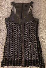 KARDASHIAN KOLLECTION gold sleeveless knee length scoop neck dress Medium M