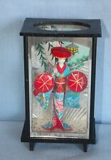 "VINTAGE JAPANESE DOLL ~ GEISHA GIRL IN KIMONO w/Red Hats ~ 7"" Display Case"