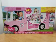 NEW Barbie 3 in 1 dreamcamper fully furnished, 60 pieces