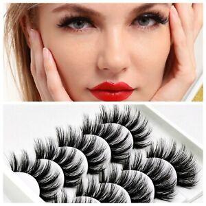 UK 5 Pairs 3D Fake Eyelashes🌈 Thick Natural False 🌈 Lashes Set Mink Makeup