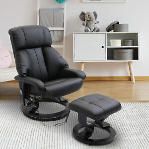 HOMCOM Faux Leather, Electric Heated Massage Sofa Chair with Footrest