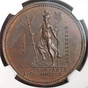 """1759, Great Britain. Bronze """"The Taking of Guadeloupe"""" Token / Medal. NGC MS-61!"""