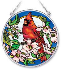 "Cardinal Dogwood Sun Catcher AMIA 4.5"" Round Bird Flowers Hand Painted Glass New"