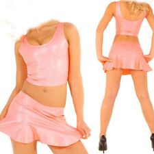 100% Pure Latex Rubber Pink Sexy Vest pleated skirt Short skirt Uniforms 0.4mm
