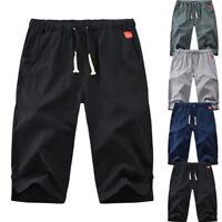 Men's Shorts Solid Drawstring Cotton Linen Loose Beach Summer Hot Pants Shorts