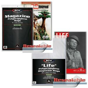 10 Pc Combo 5 Life Size 5 Standard Magazine Bags Lot Resealable Sleeves New BCW