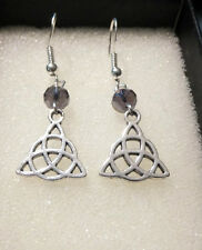 Charmed Celtic Knot Book of Shadows TRIQUETRA trinity wicca earrings 925 hooks