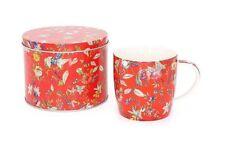 William Kilburn Tazza & TIN Fine China Rosso a Fiori. Caffè Tè Regalo