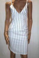 LUVALOT Brand White Black Stripe V Neck Pencil Dress Size 10 BNWT #TP112