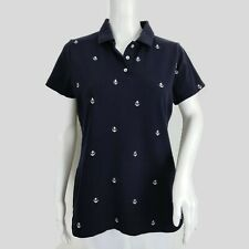 Peter Millar Polo Shirt Womens Size Medium Navy Blue White Embroidered Anchors
