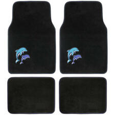 Cute Blue Dolphins on Black Car Carpet Floor Mats Front & Rear Liners 4pc