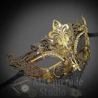 Womens Luxury Filigree Light Metal Laser-Cut Venetian Masquerade Mask [Gold]