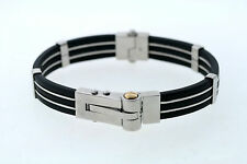 Triton Stainless Steel & Black Rubber with 14K Yellow Gold Men's Bracelet