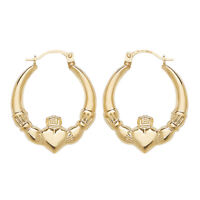 9ct Yellow Gold Claddagh Creole Hoop Earrings - Solid 9K Gold