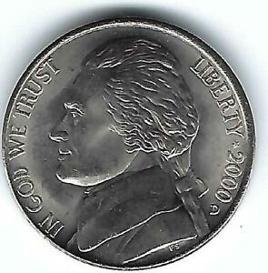 2000-D Denver Uncirculated Jefferson Nickel Five Cent Coin!