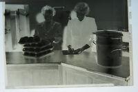 (2) B&W Press Photo Negative Women Setting Up Banquet Tables Tea Cups T1253