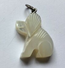 Sterling Silver 925 Mother Of Pearl Carved Dog Puppy Pendant Necklace Charm H