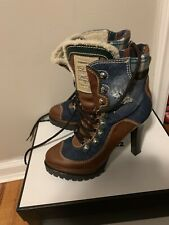 DSQUARED2 Leather Boots Size 41 Denim /Plaid With Sherpa  Lining