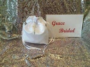 WHITE HOLY COMMUNION DIAMANTE CROSS DUCHESS SATIN DOLLY BAG  B/MAID FLOWER GIRL
