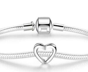 ❤ LOVE HEART Mum Wife Genuine 925 sterling silver charm bead Gift Mum Wife ❤