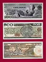 UNC MEXICO Notes 100 Pesos '82 (P-74), 500 Pesos '77 (P-79) & 1K Pesos '81 (P85)