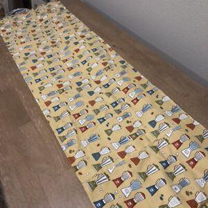 "Retro Kitchen Mixers Print Curtain Valance 62""x15"" Mid Century Print Gold EUC"