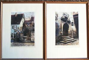 Large Pair of Ernst Geissendorfer Rothenberg Etchings -  Signed & Framed