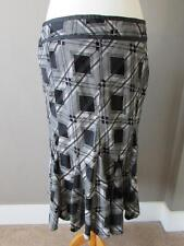 """PRINCIPLES Ladies Black & Grey Checked Lined Skirt Size 14 PETITE Length 27"""""""