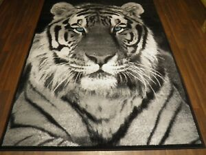 TOP QUALITY BARGAIN RUGS BLACK/GREY APPROX 8X5FT BEST AROUND WOVEN CARVED TIGER