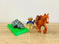 LEGO Duplo Brown Horse & Farmer with Grey Plow Field