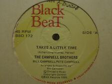 "BILL CAMPBELL TAKES A LITTLE TIME / COOL IT 12"" BLACK BEAT RARE REGGAE SOCA VG+"