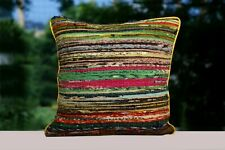 """Indian Handloomed Pillow Case 16"""" Rag Rug Square Cushion Cover 2 Pcs Sofa Pillow"""