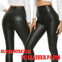 Faux PU Leather Skinny Pants High Waist Push Up Butt Lift Stretch Legging Black