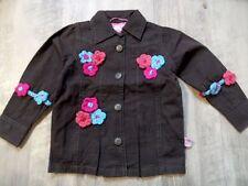 MIM-PI schöne leichte Jacke braun m. Häkelblumen Gr. 92 o. 98 NEU ST817