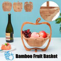 Collapsible Bamboo Fruit Basket Bowl Folding Foldable Trivet Storage Holder Rack