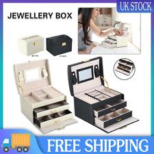 Large Jewellery Box Leather Finish Storage Drawer Cabinet Necklace Organizer UK