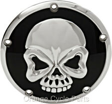 Skull Derby Cover Black w/Chrome skull for Harley Dyna Low Rider 1999-2014