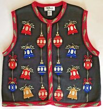 Red Blue Gold Ornaments UGLY Christmas SWEATER VEST Women's XL ~ Extra Large