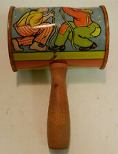 """Vintage Toy Wood & Tin Metal Rattle Noisemaker 5"""" x 2.25"""" Very Good Condition"""