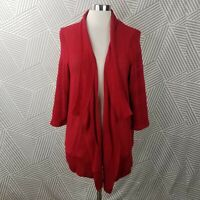 Coldwater Creek size XL 16 Cardigan Sweater Stretch Open Front Drape Red