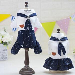 Cute Tie Dog Jumpsuit Dog Dress Lovers Suit Clothes Puppy Costume Cat Coat Dress