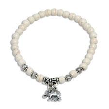 WOMEN'S WHITE TURQUOISE 6MM BEADED TIBETAN SILVER ELEPHANT STRETCHABLE BANGLE