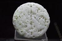 China natural jade China hand carved Dragon phoenix white Jade Amulet Pendant