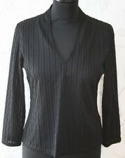 LA CITY PARIS Black Top V-Neck Blouse Short Semi-Transparent Ribbed Shirt S/M