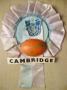 Rugby Union Rosette- CAMBRIDGE GOOD LUCK RUGBY ROSETTE