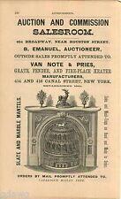 1876 ADVERT Van Note & pries Fire Place Heater Slate Marble Mantels