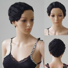 Brazilian Remy Human Hair Wigs Outre Short Finger Wave Wavy for Modern Women 1B